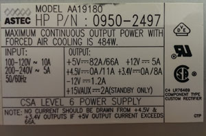 0950-2497 J210 POWER SUPPLY